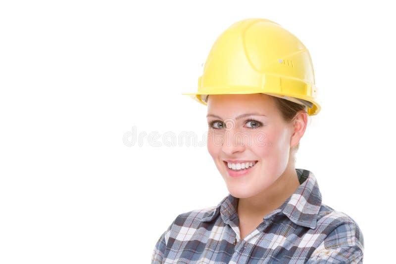 travailleuse de contruction image stock