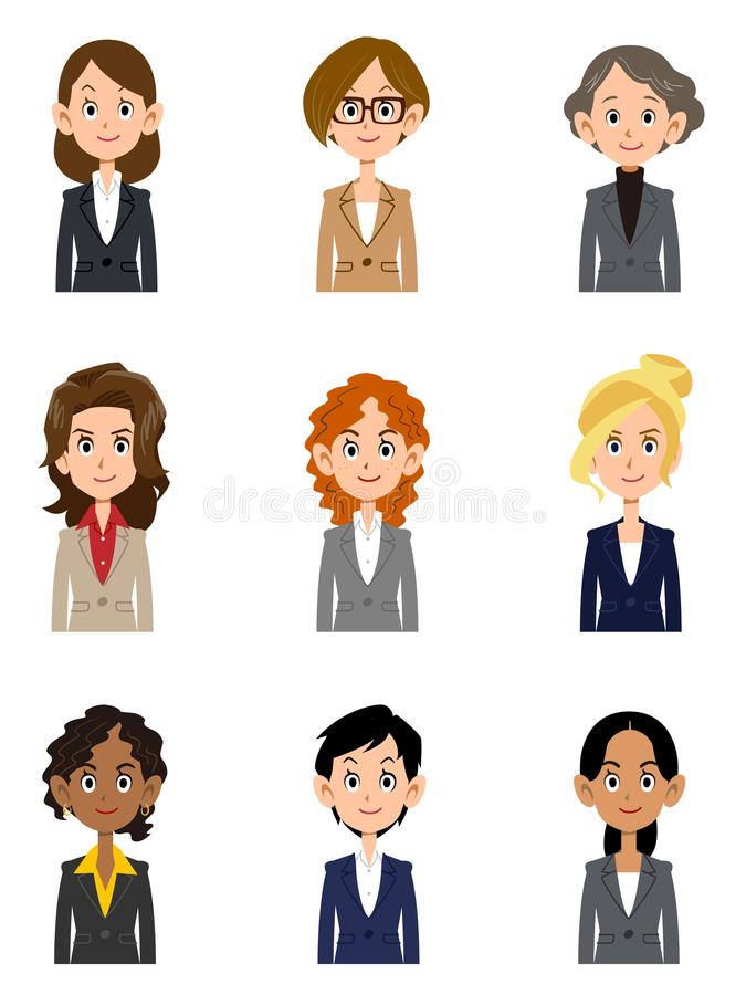 Travailleuses actives de diverses nationalités, divers âges illustration libre de droits