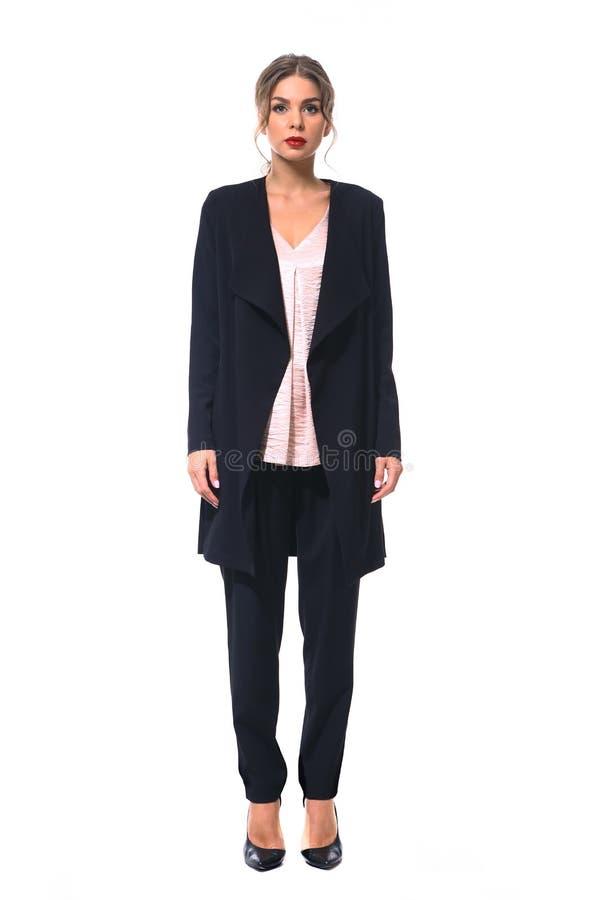 Travaillez comme employé la femme d'affaires de directeur dans le costume de culotte noir formel photo stock