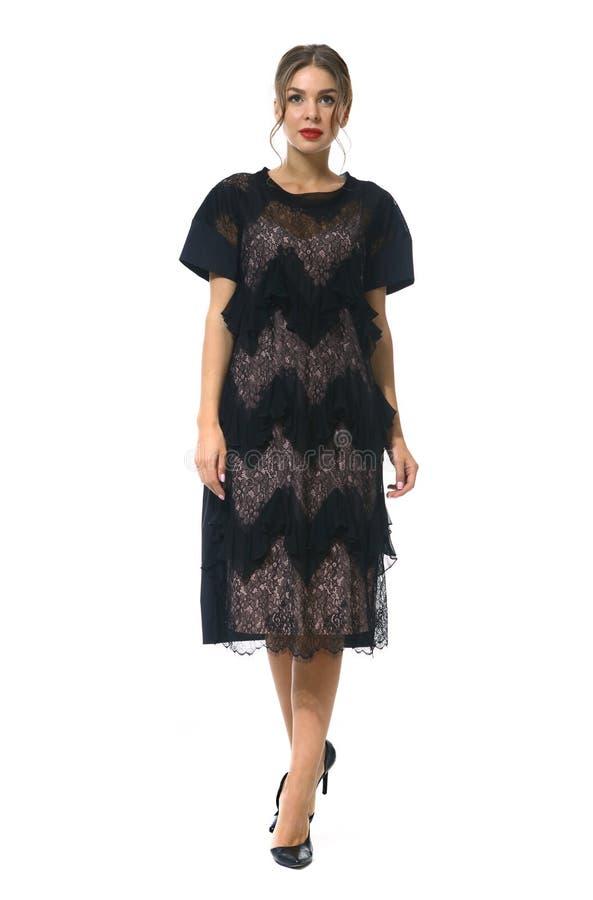 Travaillez comme employé la femme d'affaires de directeur dans la robe habillée noire formelle de dentelle photographie stock libre de droits