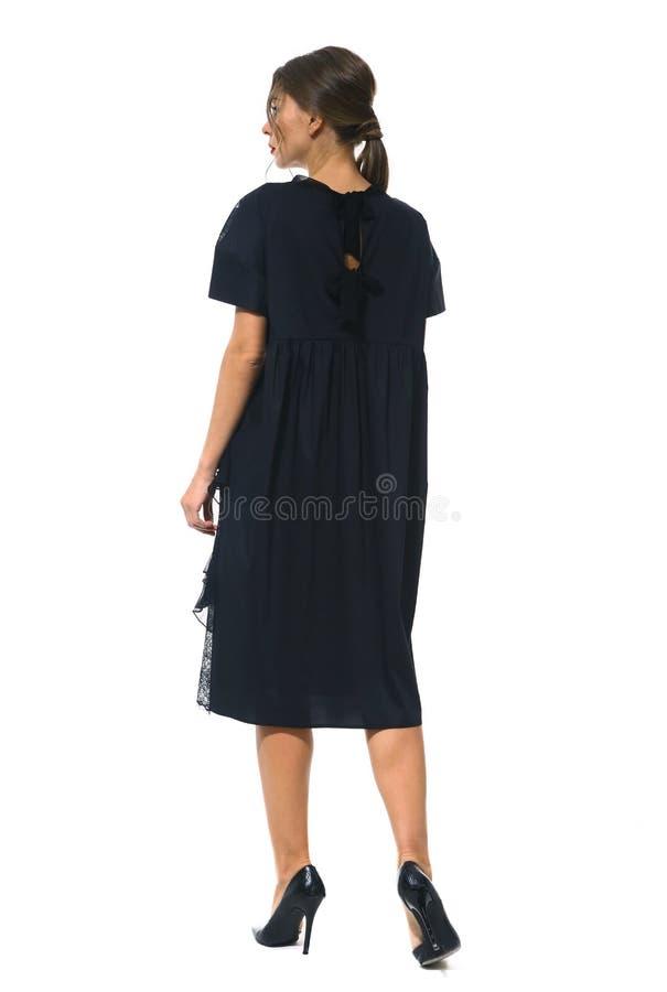 Travaillez comme employé la femme d'affaires de directeur dans la robe habillée noire formelle de dentelle photo stock