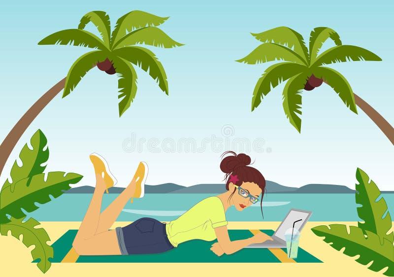 Travaillez en indépendant sur la plage illustration libre de droits