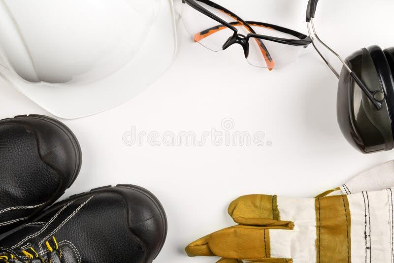 Travaillez l'équipement de sécurité et de protection - chaussures protectrices, sécurité photo stock