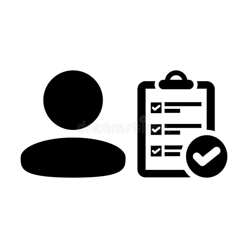 Travaillez l'avatar de profil de personne masculine de vecteur d'icône avec le document de rapport de liste de contrôle d'enquête illustration de vecteur