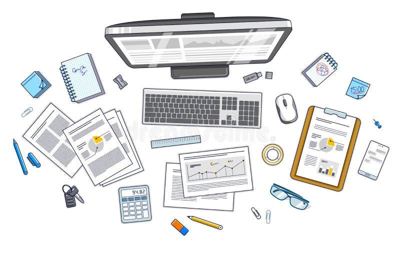 Travaillez la vue supérieure d'espace de travail de bureau avec l'ordinateur de PC et le pape d'analytics illustration de vecteur