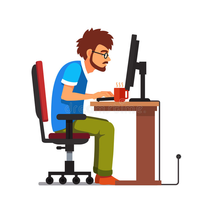 Travaillez le connaisseur d'intoxiqué s'asseyant au bureau d'ordinateur illustration libre de droits