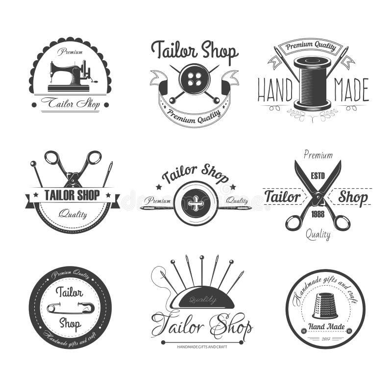 Travaillez les icônes de vecteur de salon de boutique se boutonnent, aiguille de couture ou ciseaux et dé illustration libre de droits