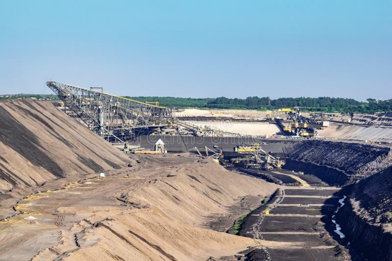 Travaux dans la mine de Brown chez Welzow Süd, une des plus grandes mines à ciel ouvert allemandes opérationnelles de lignite de  photos stock