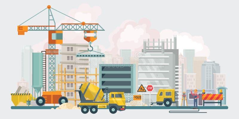 Travaux de construction Illustration plate de vecteur avec les outils colorés de bâtiment Affiche de bâtiment dans le style moder illustration stock