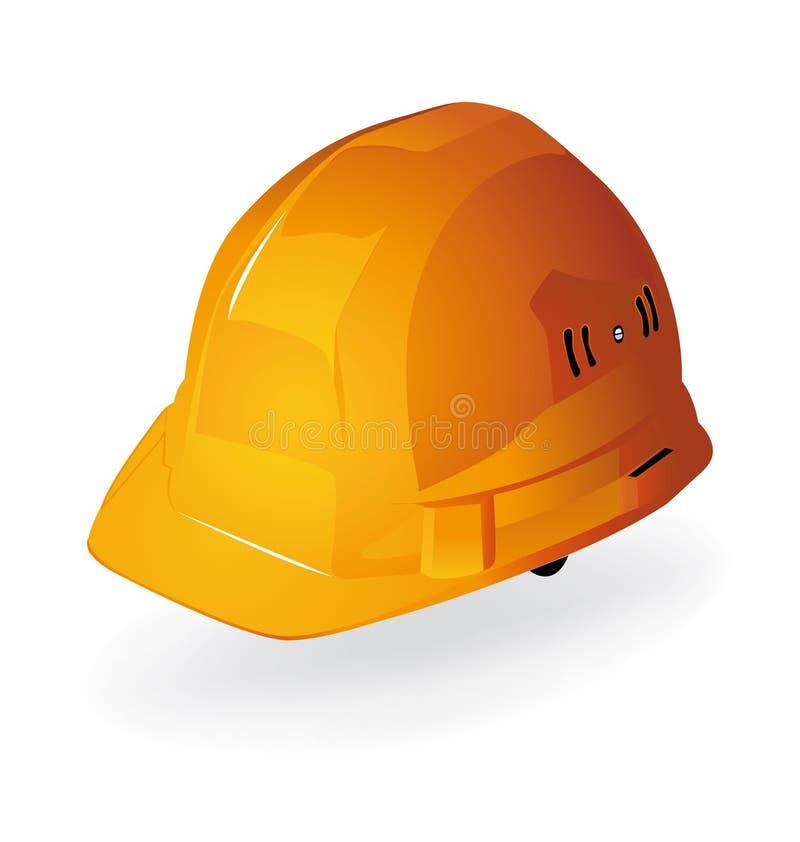 Travaux de construction oranges de casque de masque. illustration stock