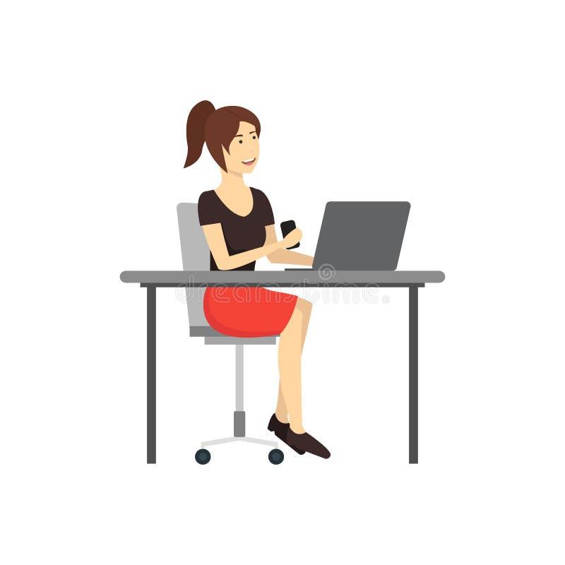 Travaux de femme de personnage de dessin animé à l'ordinateur Vecteur illustration libre de droits