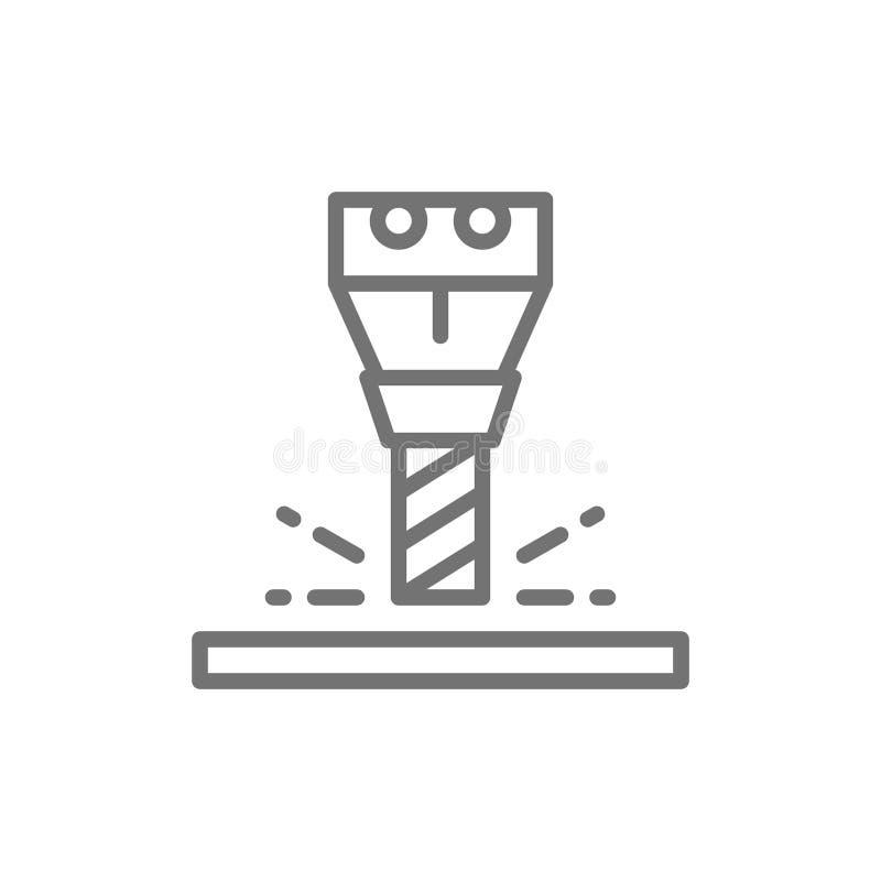 Travaux de fraisage, axe pour la ligne icône de machine de commande numérique par ordinateur illustration stock