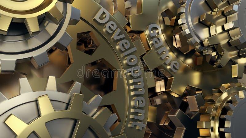 Travaux de promoteur de jeu sur une conception de niveau roues de vitesses du moteur 3d, vue de plan rapproché illustration libre de droits