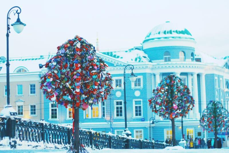 Trave árvores em Moscou foto de stock royalty free