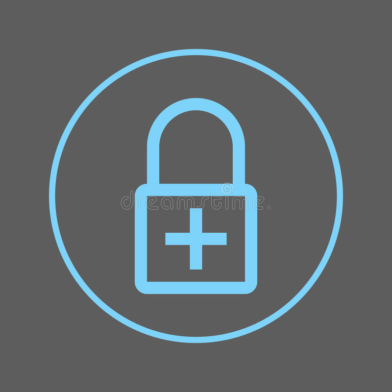 Trave com linha circular positiva ícone Adicione o sinal colorido redondo da criptografia Símbolo liso do vetor do estilo ilustração stock