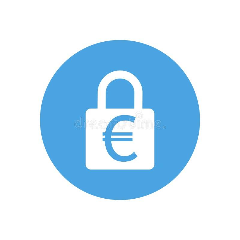 Trave o ícone Sinal do cadeado Euro- Proteção da finança Ilustração do vetor Projeto liso Branco no fundo azul ilustração royalty free