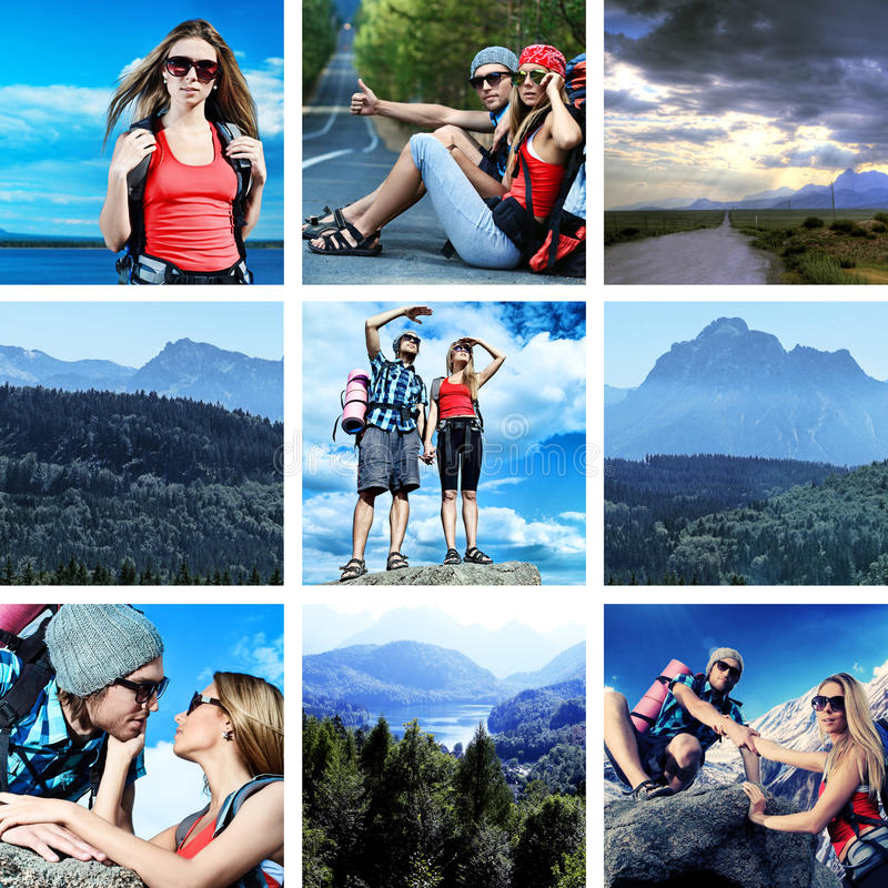 Travel. Collage with landscape and travel theme royalty free stock images