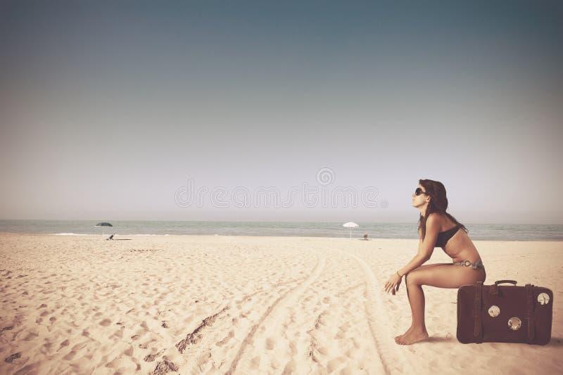Download Travel stock photo. Image of retro, brunette, seaside - 27811546