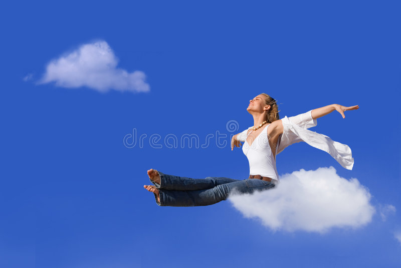 Travel. Concept, woman flying or ing on cloud