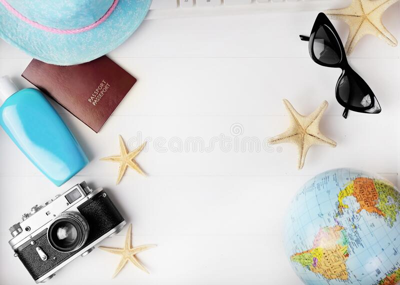 Travel accessories on desk stock photo