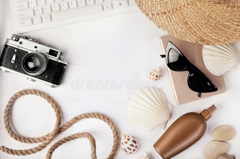 Travel accessories on desk royalty free stock image