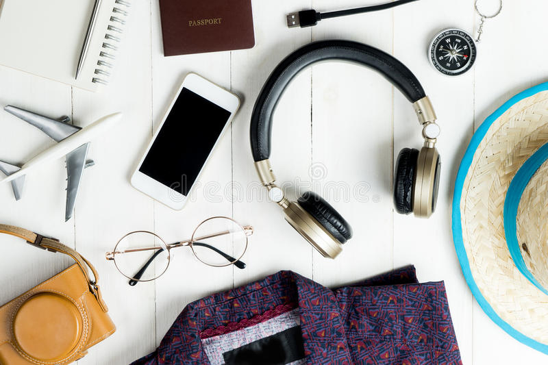 Travel accessories and fashion flatlay royalty free stock image