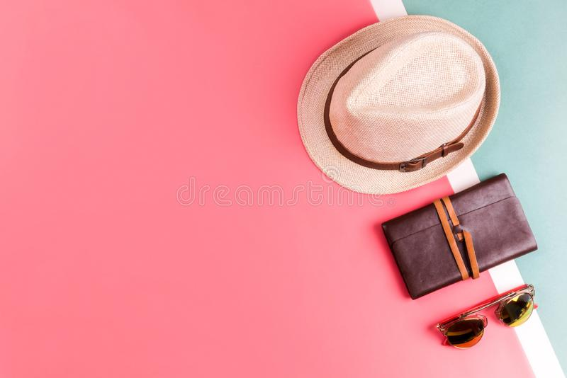 Travel accessories flatlay view royalty free stock photo