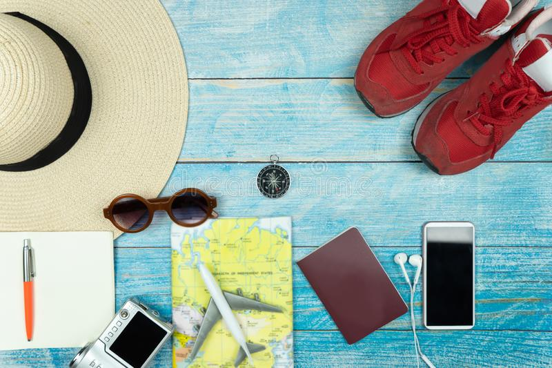 Travel accessories for vacation trip stock photo