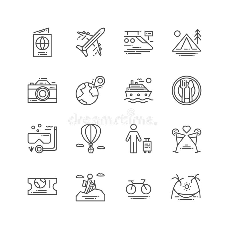 Travel and Activities icon. Leisure and Sport concept. Trip and journey concept. Thin line and Outline icon set. Vector vector illustration