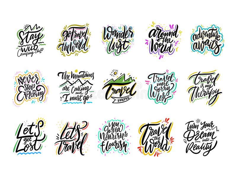 Travel and Adventure lettering set 01. Hand drawn vector illustration. Motivational quote and phrase stock illustration