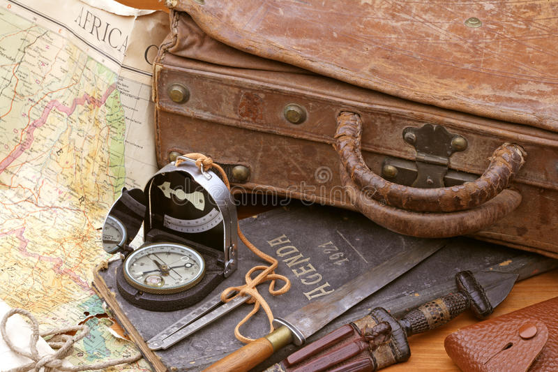 Travel and adventure suitcase royalty free stock images