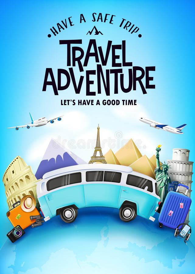 Free Travel Adventure Tourism Poster With Realistic 3D Traveling Car And Other Travel Item Elements Royalty Free Stock Photo - 149348125