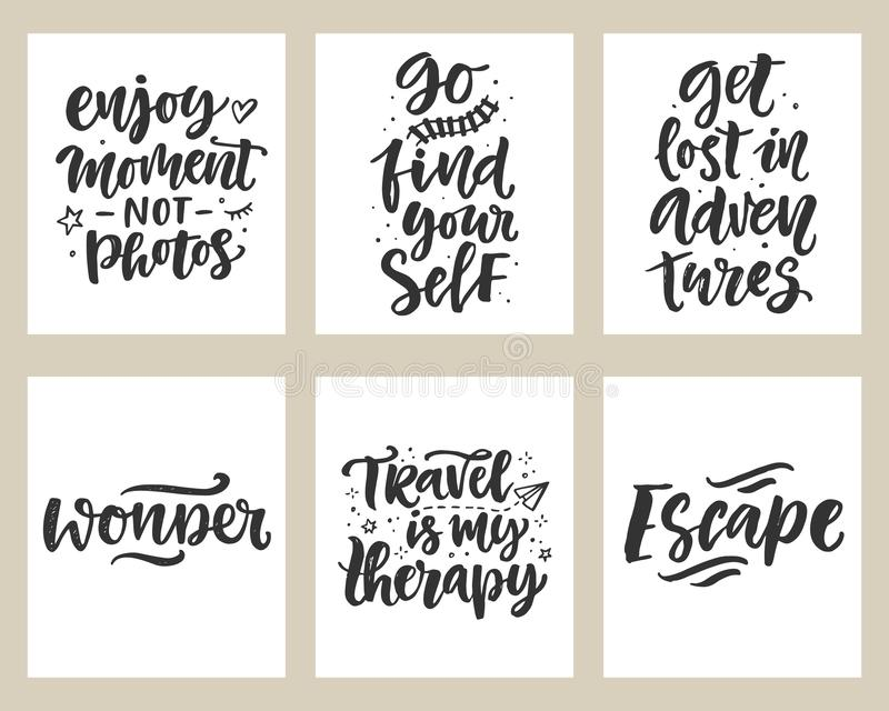 Travel, adventures hand written lettering quotes icons badges set. Modern calligraphy, label vector illustrations collection. Good for t shirt design, posters stock illustration
