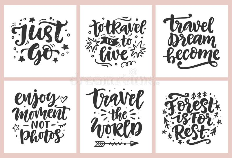 Travel, adventures hand written lettering quotes icons badges set. Modern calligraphy, label vector illustrations stock illustration