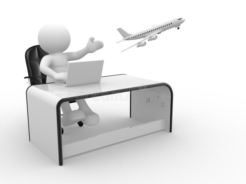 Travel agency. 3d people - human character , person sitting at a office, working on a laptop and a airplane flying. Travel agency . 3d render vector illustration