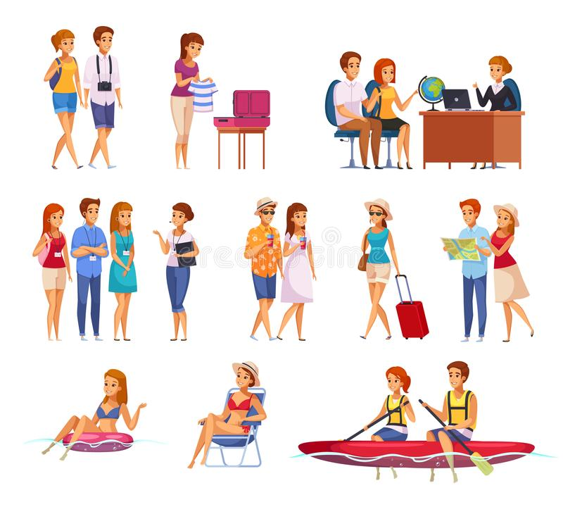 Travel Agency Cartoon Set. With people preparing for trip and on summer water active recreation isolated vector illustration stock illustration