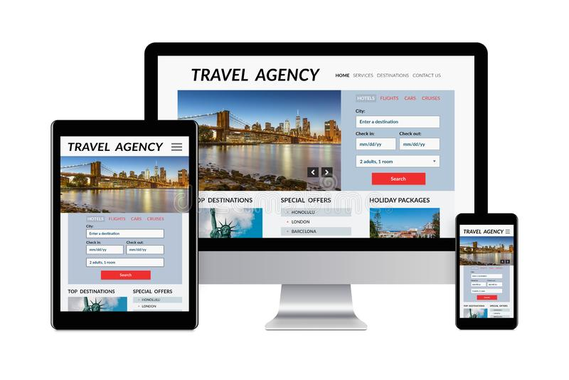 Travel agency concept on electronic devices isolated on white ba. Desktop computer, tablet and smartphone isolated on white with travel agency concept on screen vector illustration