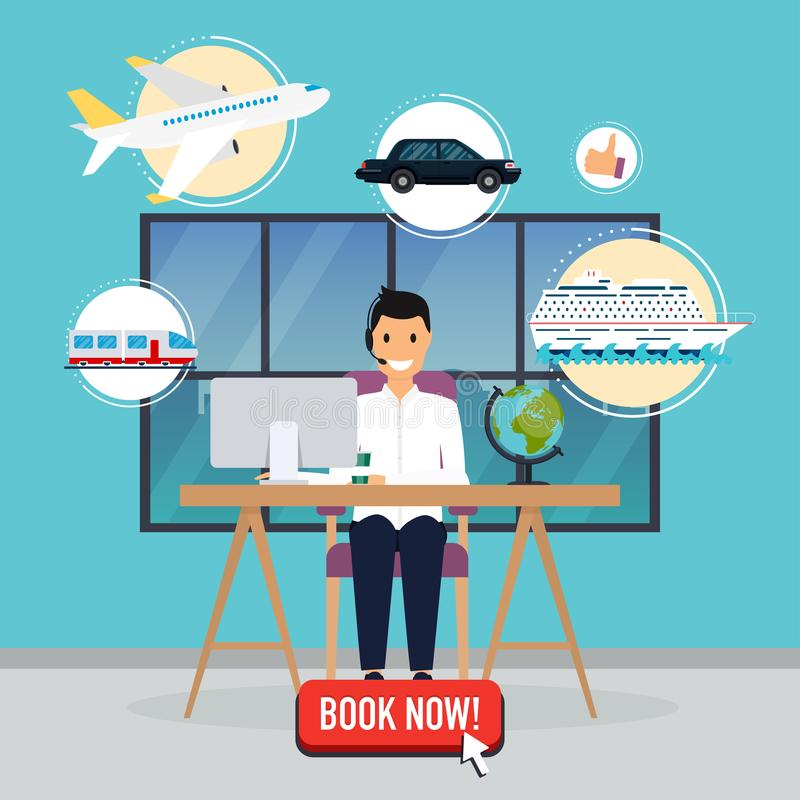 Travel agency concept. Man sitting at the table in the office. V. Acation booking airplane, cruise liner, train, auto. Flat design modern vector illustration royalty free illustration