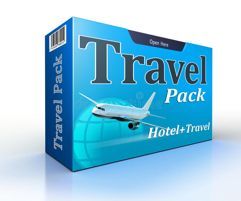Travel agency concept pack with flight and hotel stock illustration