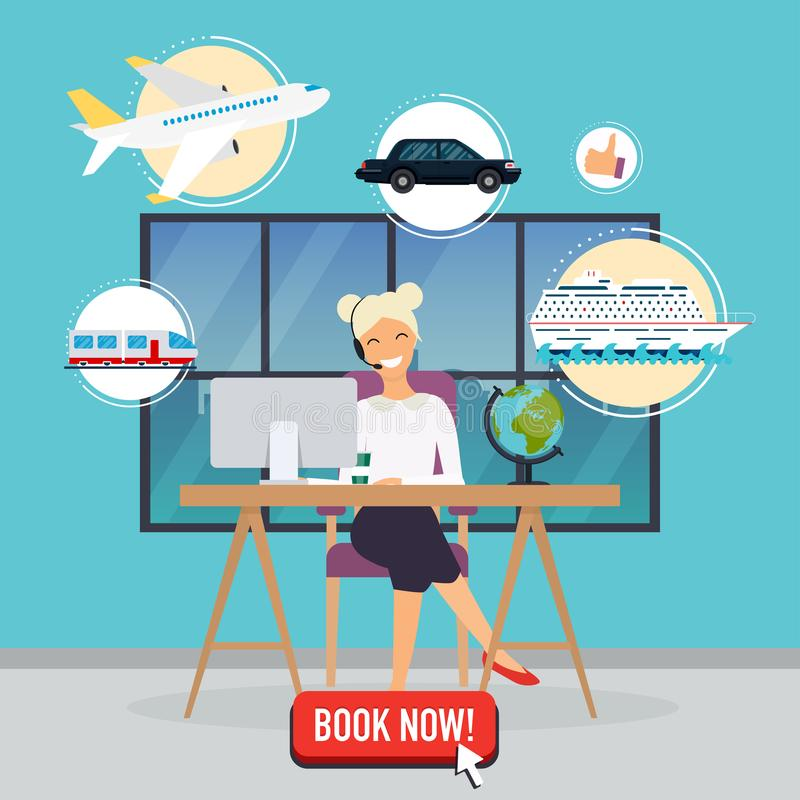 Travel agency concept. Woman sitting at the table in the office. vector illustration