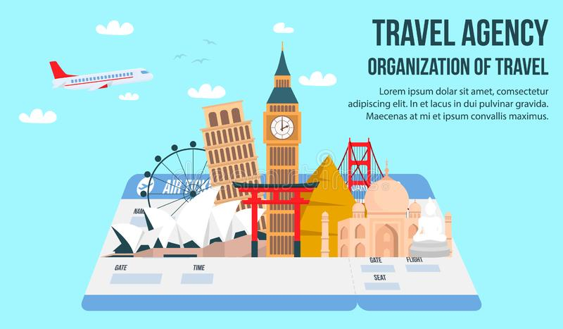 Travel Agency Flat Banner with Lettering, Text vector illustration