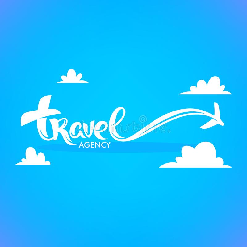 Travel Agency Lettering Logo with White Clouds and Plain on Blue vector illustration