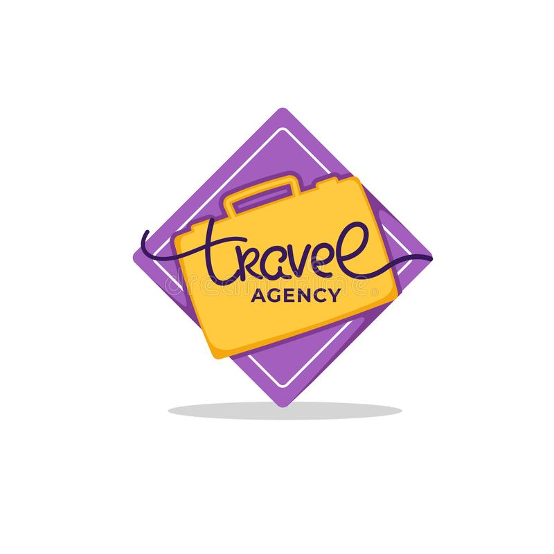 Travel Agency Lettering Logo with White Clouds and Plain on Blue royalty free illustration