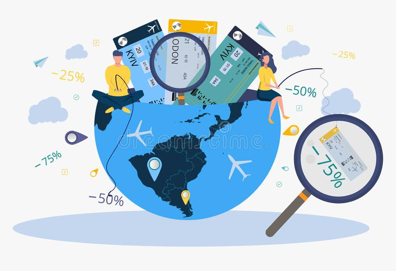 Travel agency. People who are looking for a flight schedule, book hotels, book air tickets on the Internet. Trip planning. Metaphor of tourist travel stock illustration