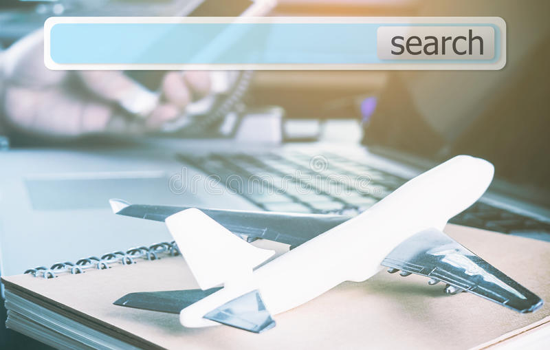 Travel agency plane travel Internet search box. Travel agency Air plane travel Internet search box stock photo