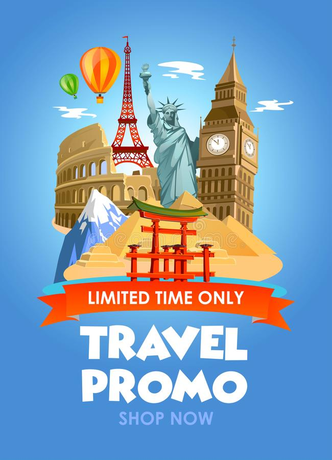Travel agency promo banner with discounts for tours. Vector illustration. vector illustration