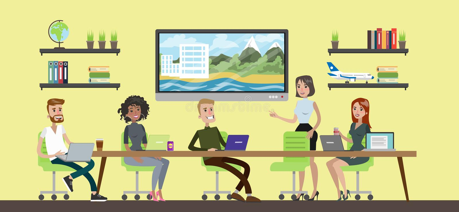 Travel agency room. Travel agency room with people working together royalty free illustration