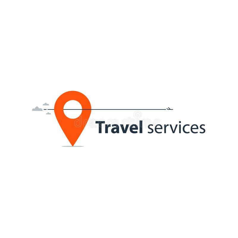 Travel agency services logo. Travel tour company concept, vacation destination, vector illustration royalty free illustration