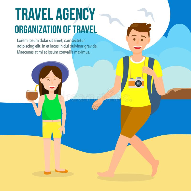 Travel Agency Square Social Media Post with Text. Summer Holiday on Tropical Island Vector Illustration. Photographer with Backpack Flat Drawing. Tourist on vector illustration
