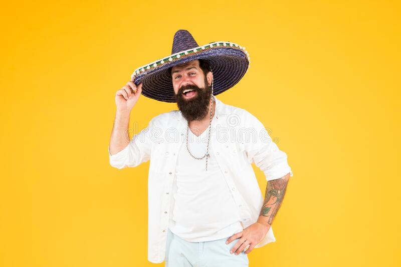 Travel agency. Tour in Mexico. National holiday. Energetic mexican artist. Mexican traditions. Explore mexican culture. Happy man sombrero hat. Summer vacation stock images